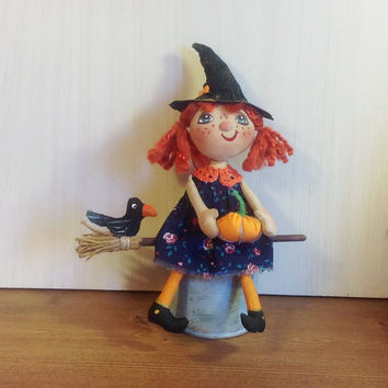 halloween doll witch broom whimsical doll housewarming stuff doll fabric soft doll rag folk doll primitive witch stuffed halloween