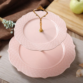 Free shipping embossed quality double layer ceramic cake stand  afternoon tea multi-layer compotier cake plate cake dish