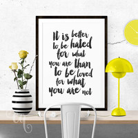 Wall art decor André Gide quote, minimalistic typography giclée print