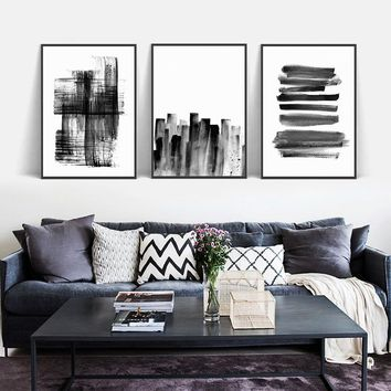 Black White Nordic Minimalist Abstract Line Simplicity Painting A4 Canvas Art Print Poster Office Wall Pictures Home Room Decor