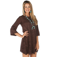 Wrangler 3/4 Sleeve Brown Dress