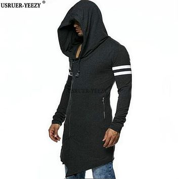 USRUER-YEEZY New Best Quality Mens Hooded With Black Gown Hip Hop Mantle Men Hoodies Sweatshirts Long Sleeves Cloak Coat Outwear