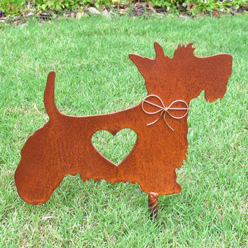 Scottish Terrier Dog Metal Garden Stake - Metal Yard Art - Metal Garden Art - Pet Memorial