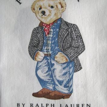 Vintage Ralph Lauren Polo Bear Preppy Cowboy Standard Size Pillowcase Striped Bedding