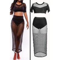 Two pieces short sleeve black mesh long dress