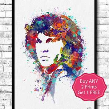 Jim Morrison Watercolor Print Wall Hanging Giclee Print Home Decor Wall Decor Jim Morrison Poster Modern Wall Artwork Rock Music Poster