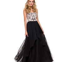 Black & Nude Strapless Empire Waist Sweetheart Chiffon 2015 Prom Dresses
