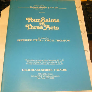 Four Saints in Three Acts playbill Lillie Blake School Theatre and photocopies of Thompson Letters etc