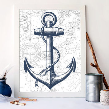 anchor ship print, nautical nursery decor, Nautical Art Print, Vintage Nautical Art,  Ocean Sea Art Print, anchor art print, A-1038