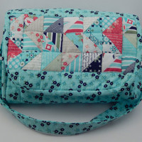 Spring colors Quilted Sling purse Day Sail fabric with matching zipper pouch