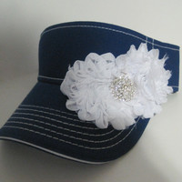 Adorable Royal Blue White Stitched Golf  Sun Visor with White Chiffon Flowers and Rhinestone Accent Golf Accessories Hats