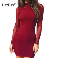 UZZDSS Elegant Long Sleeve Mesh Bodycon Dress Women Vestidos 2018 Autumn Fitness Sexy Wine Red Evening Party Dresses