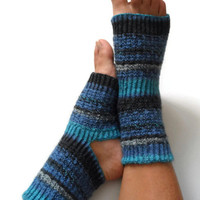 ON SALE Toeless Yoga Socks Hand Knit in Blue and Gray Stripes