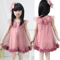 Cute Kids Girl's Chiffon Flowers Hem Lace Princess Tutu Dress SV001997|26601 Children's Clothing = 1745571780