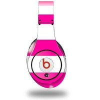 Kearas Psycho Stripes Hot Pink and White Decal Style Skin (fits ORIGINAL Beats Studio Headphones - HEADPHONES NOT INCLUDED)