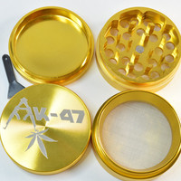 GrindTex - AK-47 Strain - Engraved Metal Herb Grinder - 4 piece Herb grinder - Free Crystal Brush