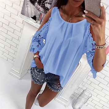 Bigsweety Ladies Blouse Fashion Womens Off Shoulder Tops Blouse Shirts Summer Hot Hollow Out Sleeve Shirt Boho Tunic Tops
