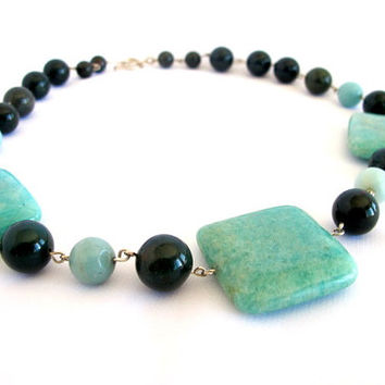 Amazonite and bloodstone statement necklace, chuncky blue green stone fine jewelry necklace