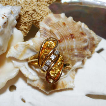 24k and 14k Natural Gold Nugget and Diamond Ring 5.23g Size 6.5
