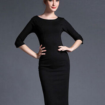 Black 3/4 Sleeve V-Back Bodycon Midi Dress with Back Wrap Slit