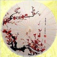 Decorative Chinese painting plum blossom umbrella free shipping