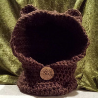 Chunky Soft Crochet Bear Cowl Child Size