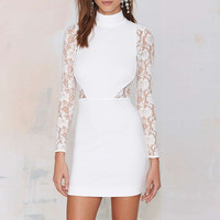 Turtle Neck Lace Accent Long Sleeve Bodycon Mini Dress