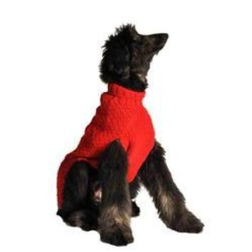 Handmade Cable Knit Wool Dog Sweater - Red