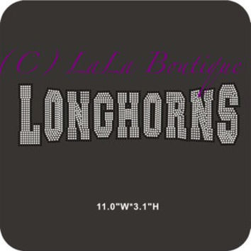 Longhorn Iron on hot fix Rhinestone Transfers - DIY applique team logo - Mascot moms kids