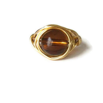 Rustic spring gold and brown wire wrapped ring wedding bridesmaids gift for her