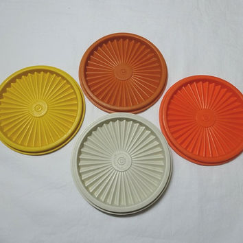 Choice of 1970s Vintage Tupperware Servalier Round Lids, Ivory, Yellow, Burnt Orange, Orange, 5 1/8 Diameter, Vintage 1970s Kitchen Wares