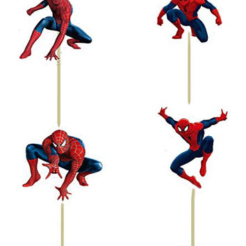 24pcs 4 designs Spiderman Cupcake Toppers Picks Kids boy birthday party decoration children evnent party decoreation favors