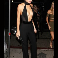 Kendall Jenner Inspired Celebrity Deep Plunge Jumpsuit in Black