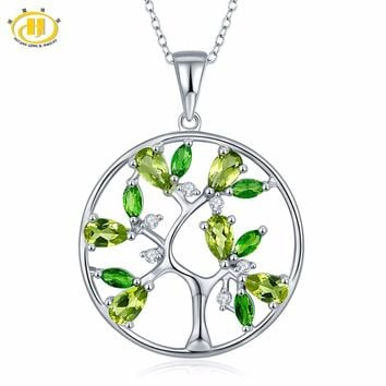 Hutang Tree of Life Natural Peridot Pendant 925 Sterling Silver Diopside Topaz Gemstone Necklace Fine Jewelry New Arrival
