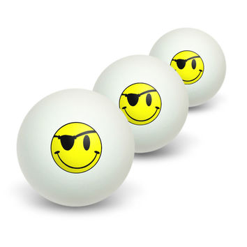 Smile Smiley Pirate Face Novelty Table Tennis Ping Pong Ball 3 Pack