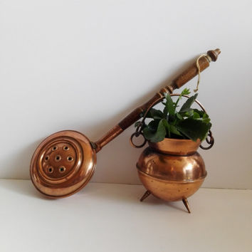 Two old french coppers utensils: small cauldron and old copper bed heater