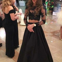 Two Piece Black Lace Prom Dresses