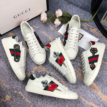 GUCCI Ace leather embroidered sneaker