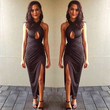 Black Halter Wrap Ruched Slit Bodycon Maxi Dress