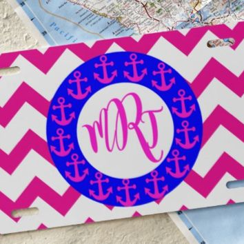 Anchor Frame Red Chevron Monogrammed Car Tag/License Plate
