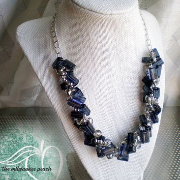 Navy Blue Geometric Beaded Statement Necklace  Navy Blue and Silver Beaded Necklace  Rectangle Necklace  Blue and Gray Necklace