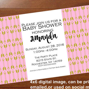 Boho Baby Shower invitation, pink and gold baby shower, Arrow baby shower invite,Gender neutral,Tribal,personalized 4x6 printable invitation