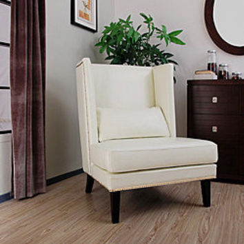 Malia White Leather Wingback Chair $358