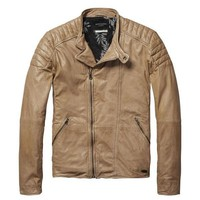Tan Biker Soft Leather Jacket by Scotch & Soda