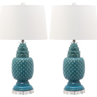 Blakely Table Lamp Set, Teal, Acrylic / Lucite, Table Lamps