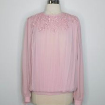 vintage womans mauve pink LIZ ROBERTS victorian lace pleat Blouse Sz 10 L37-29