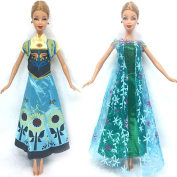 NK Two Set Princess Doll Anna  + Elsa Outfit Movie Similar Dress Fairy Tale Wedding Dress For Barbie Doll Best Girls' Gift