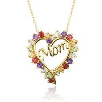 "Yellow Gold-Plated Multi-Gemstone ""Mom"" Heart Pendant Necklace, 18"""