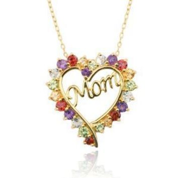 """Yellow Gold-Plated Multi-Gemstone """"Mom"""" Heart Pendant Necklace, 18"""""""