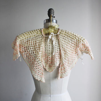 Vintage 1950s Knitted Baby Bed Jacket Shawl